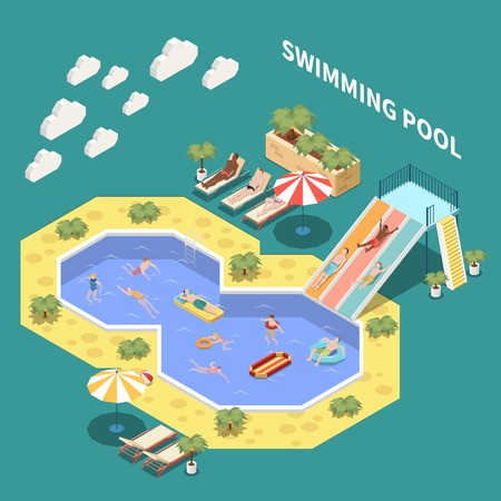 Water park aquapark isometric composition with sun loungers waterslides and open pools with people and text vector illustration