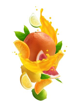 Citrus juice colored composition with realistic fresh fruits and splash of juice on white background vector illustration
