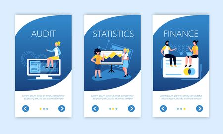 Accounting vertical banners collection with arrow buttons text and conceptual images of people screens and pictograms vector illustration