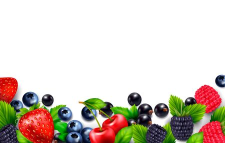 Berry fruit realistic background with blank empty space and colourful frame with leaves and berries images vector illustration
