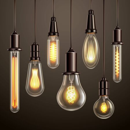 Trendy lighting design with retro style vintage looking soft glowing filament edison ligt bulbs variety vector illustration Illustration