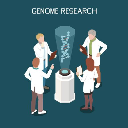 Genetics isometric concept with four scientists researching genome 3d vector illustration