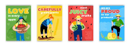 Set of four vertical eco farming posters with colourful hand drawn style pictures of happy farmers vector illustration