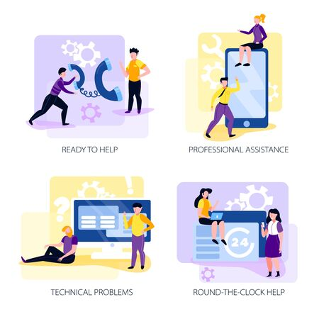 Call centre 2x2 design concept with professional assistants solving problems round the clock flat vector illustration