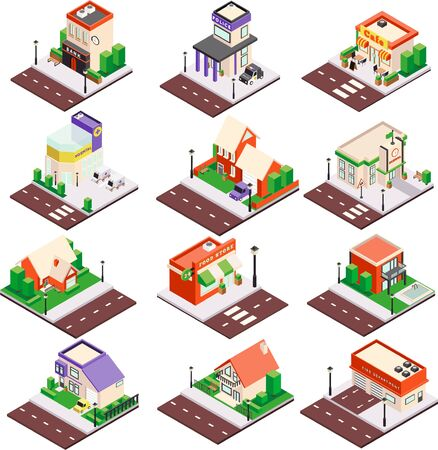 Modern city architecture isometric buildings collection with residential houses cafe police station bank hospital isolated vector illustration