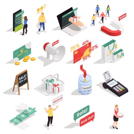 Customer loyalty retention isometric concept icons collection with sixteen isolated images with human characters symbols signs vector illustration Illustration