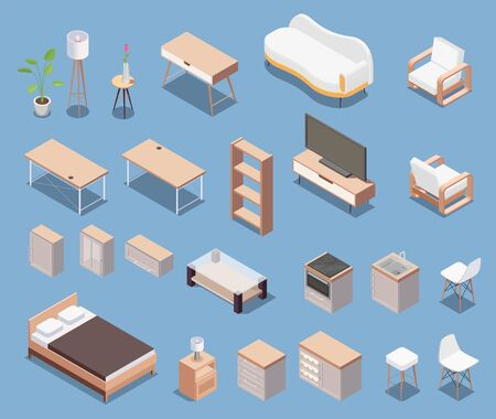Isometric furniture icon set with wooden chair couch bed table shelf drawer cabinet vector illustration