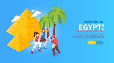 Welcome to egypt online journey planning booking isometric website horizontal banner with pyramids palms travelers vector illustration Illustration
