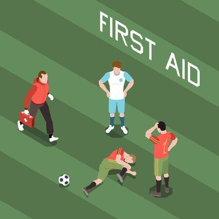 Docteur en cours d'exécution pour donner les premiers soins au footballeur blessé illustration vectorielle isométrique 3d Vecteurs