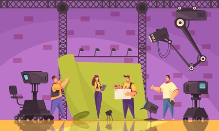 Movie cinema production process flat cartoon composition with film crew equipment on scene shooting location vector illustration