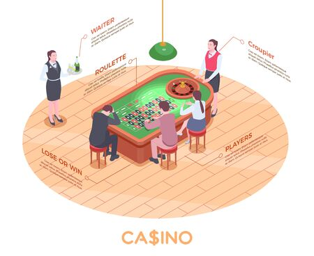 Isometric composition with people playing roulette in casino 3d vector illustration Illustration