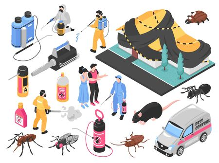 Pest control service team removing bugs exterminating rats tools equipment products clients auto isometric set vector illustration  Stock Illustratie