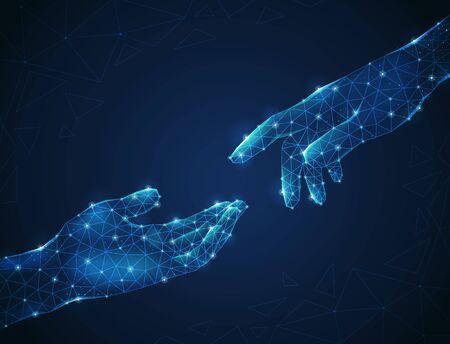 Twee lichtgevende veelhoekige draadframe menselijke handen die zich naar elkaar uitstrekken op blauwe achtergrond abstracte vectorillustratie Vector Illustratie