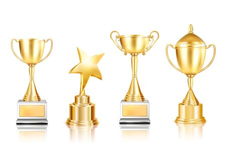 Set of four trophy award realistic images with cups on pedestals with reflections on blank background vector illustration Иллюстрация