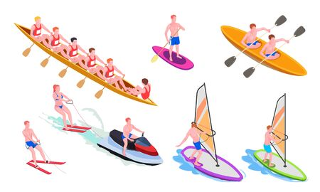 Isolated and isometric water sports icon set with diving windsurfing canoeing rowing snorkeling vector illustration Ilustração