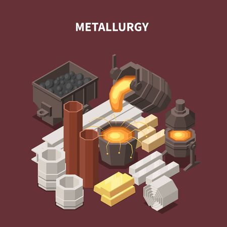 Commodity isometric composition with images of fire pots tubes waggons and various metallurgical production industrial goods vector illustration Illustration