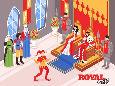 Isometric castle royal king queen interior indoor composition with characters of courtiers and crown bearing persons vector illustration