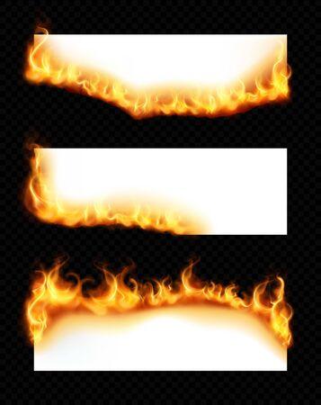 Realistischer Satz von drei weißen horizontalen Papierblättern mit brennenden Rändern einzeln auf dunkler transparenter Hintergrundvektorillustration Vektorgrafik