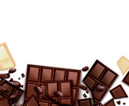 Chocolate realistic background with frame of images with choc bars and blank background with empty space vector illustration Ilustração