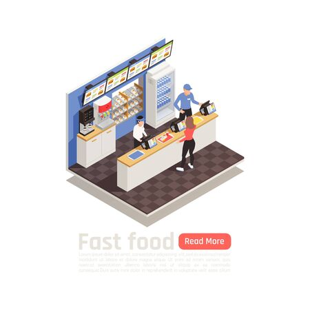 Fast food restaurant isometric composition with service staff in uniform at cash register and woman ordering eating vector illustration  Illustration