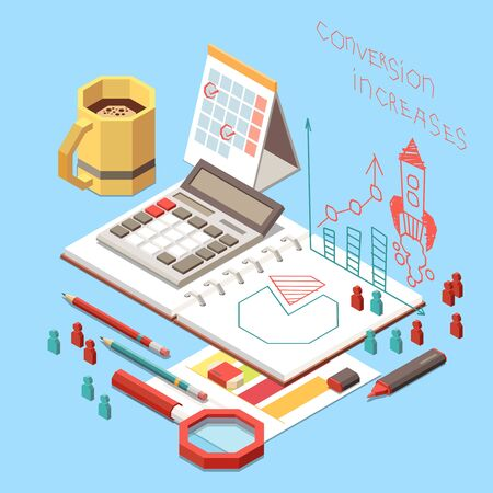 Conversion rate optimization isometric concept with stationery and planner with diagram on work place 3d vector illustration