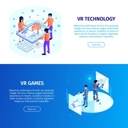 Isometric people interfaces horizontal banners set with editable text clickable buttons people and various electronic devices vector illustration