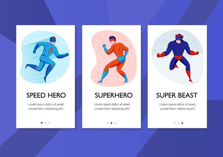 Superhero speed hero super beast comic books characters action pose 3 vertical banners blue background vector illustration
