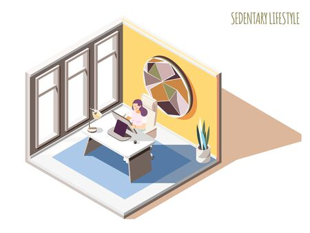 Sedentary lifestyle isometric composition with text and female character sitting at table in her working room vector illustration