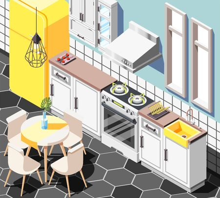 Loft interior isometric background with indoor view of modern kitchen with furniture cabinetry fridge and table vector illustration 일러스트