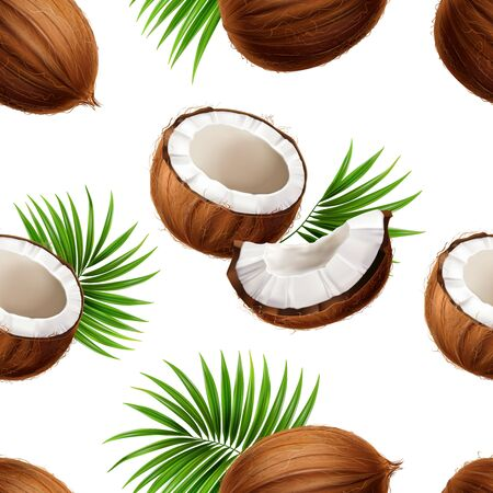 Whole and cut coconuts with palm frond leaves strewn on white background realistic seamless pattern vector illustration