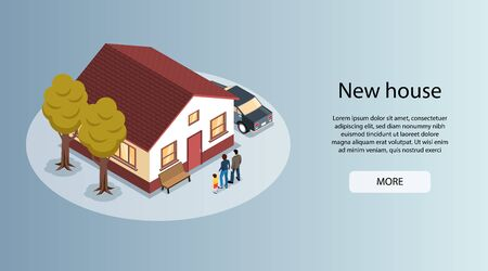 New home in city isometric horizontal real estate agents website banner with family house for sale vector illustration