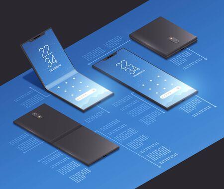 Composition de maquette isométrique de concepts de gadgets pliables avec des images réalistes de nouveaux modèles de smartphones avec illustration vectorielle de légendes de texte Vecteurs