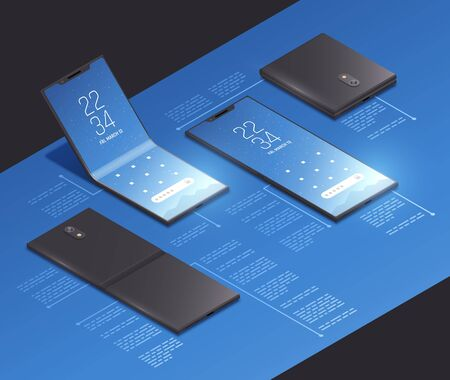 Foldable gadgets concepts isometric mockup composition with realistic images of new smartphone models with text captions vector illustration Vektoros illusztráció
