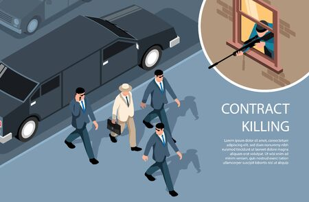 Isometric criminal horizontal background with images of sniper shooting rich gentleman surrounded by bodyguards with text vector illustration