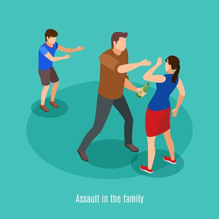 Alcoholism family violence in front of kids isometric background composition with drunk man fighting with spouse vector illustration Çizim