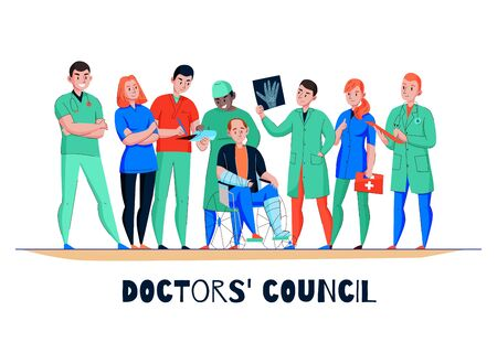 Hospital consultation flat horizontal banner with wheelchair bound patient doctor medical team analyzing xray image vector illustration