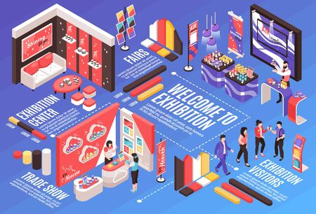 Isometric expo stand horizontal composition with infographic elements text captions dashed lines and exhibition booth design vector illustration