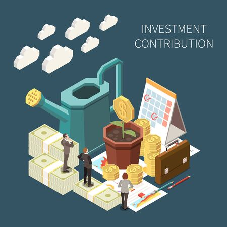 Investment contribution and growth isometric concept with money and business people 3d vector illustration