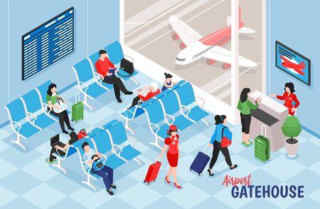 Composición isométrica del aeropuerto con vista interior del salón cerca de la puerta con mesa electrónica e imágenes de avión ilustración vectorial
