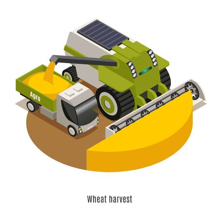 Wheat harvesting machinery with automated  agricultural robotic combine thresher  isometric round composition against white background vector illustration Illusztráció
