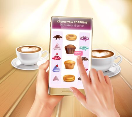 Smartphone virtual and augmented reality cooking application recognizing products suggesting recipes choosing toppings realistic composition vector illustration