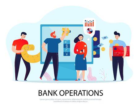 Composición plana de operaciones bancarias en línea con personas que pagan facturas y administran su ilustración de vector de finanzas Ilustración de vector