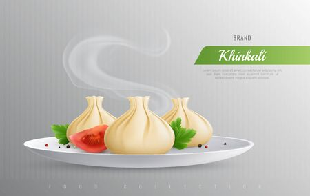 Khinkali realistic composition as promotion of most popular dishes of georgian cuisine vector illustration