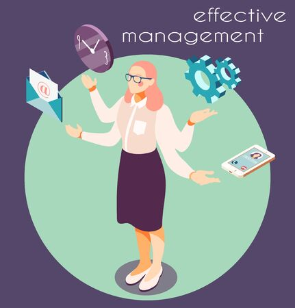Effective management isometric background with circle composition of icons pictograms and four-armed female human character vector illustration Illustration