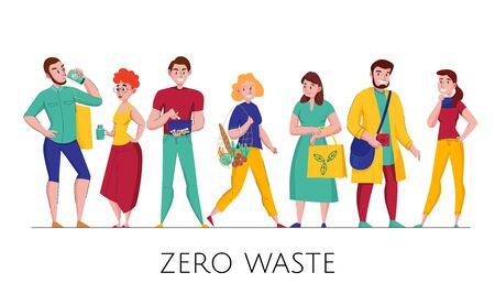 Zero waste environmental conscious plastic free eco friendly people wearing natural  clothing flat horizontal set vector illustration
