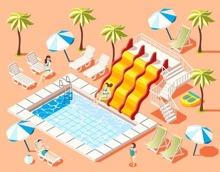 Aquapark isometric background with sunbathing and fun rides symbols  vector illustration Illustration