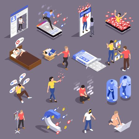 Set of isolated social network addiction isometric icons with conceptual images of people addicted to social media vector illustration