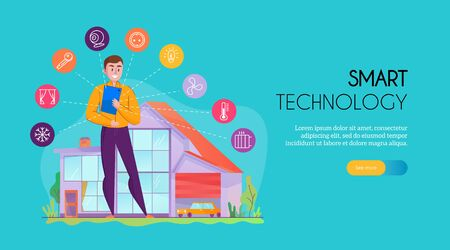 Man standing near building equipped with smart home system colorful horizontal banner flat vector illustration 向量圖像