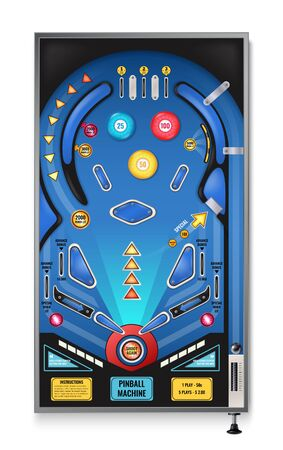 Pinball game machine realistic top view with shoot again blinking lights play field ramps spinners vector illustration
