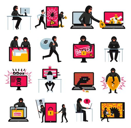 Hacker icons set with online threats and attacks symbols flat isolated vector illustration Çizim